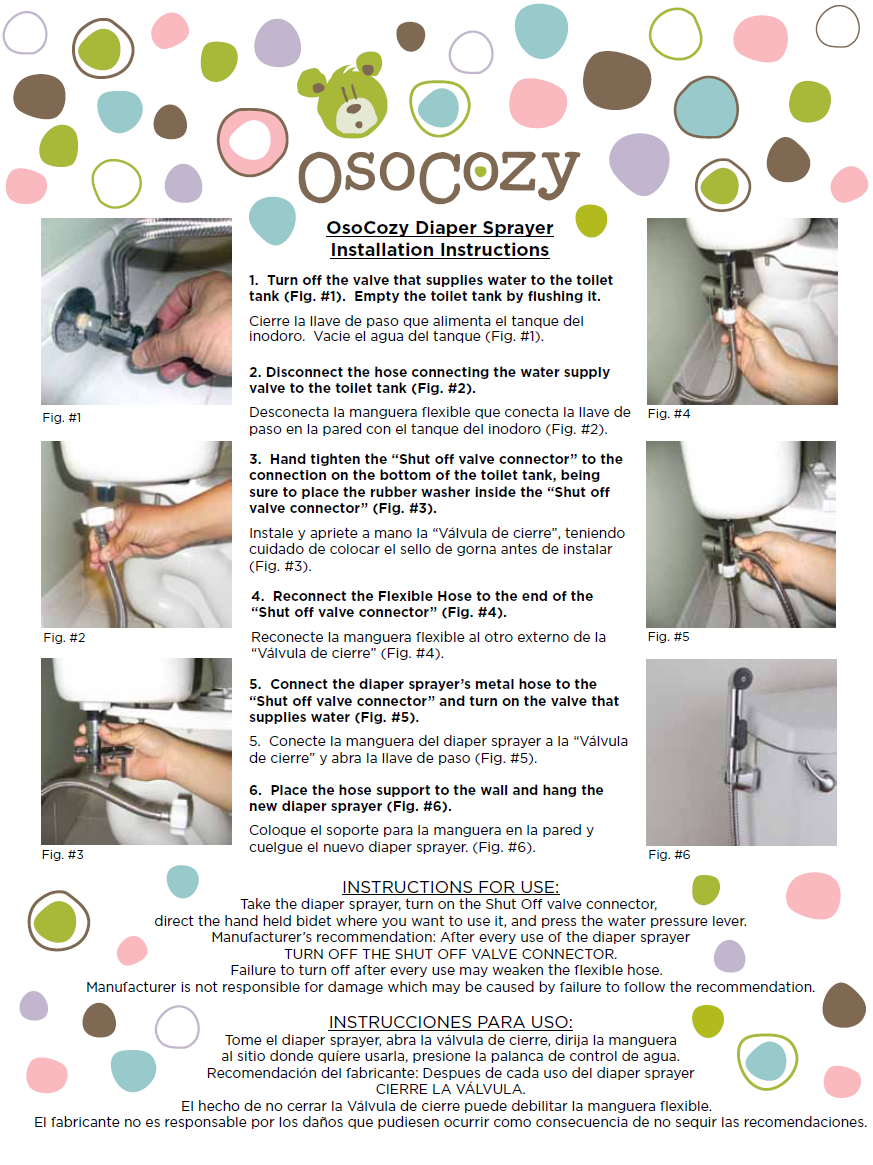 OsoCozy Diaper Sprayer Instructions