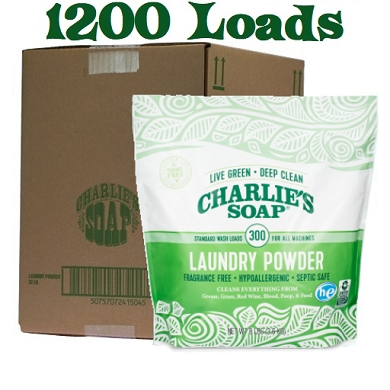 Charlie's Soap Laundry Powder - 1200 Load Box ( 4ea 8 lb Pouches)