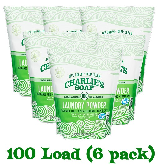 Charlie's Soap Laundry Powder - 100 Load - 6pk