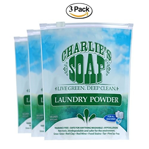 Charlie's Soap - Fragrance Free Laundry Powder - 100 Loads (3 Pack) - 300 Total Loads