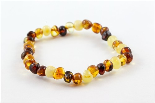 Healing Hazel - Infant Baltic Amber Ankle Bracelet- Multicolored- Polished