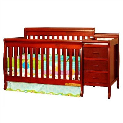 Athena Kimberly 3-In-1 Crib And Changer Combo - Cherry