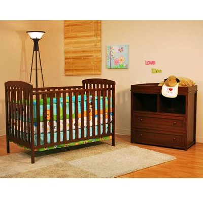 Athena Leila Crib And Dresser Nursery Set - Espresso