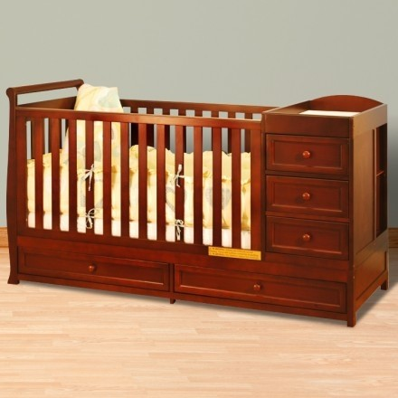 Athena Daphne 2-In 1 Crib And Changer Combo - Cherry