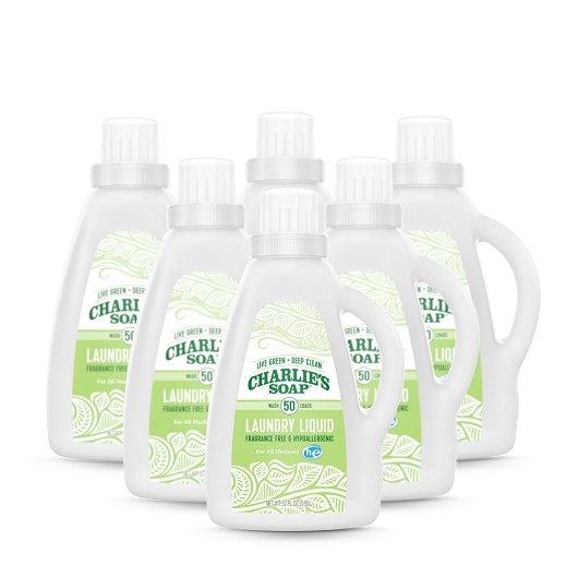 Charlie's Soap - Fragrance Free Laundry Liquid (50 Loads - 6 Pack)